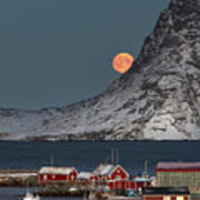 Moonrise In Reine Poster