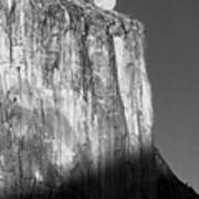 M-m6506-e-bw-moonrise Over El Capitan At Sunset  Poster