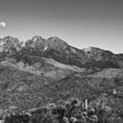 Moonrise Over Four Peaks Poster