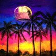 Moonrise Over The Tropics Poster