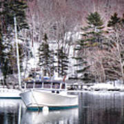 Moored Boats In Maine Winter  Poster