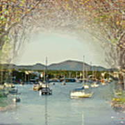 Moored Yachts In A Sheltered Bay Poster