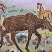 Moose And Horses Animal Vignette From River Mural Poster