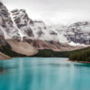 Moraine Lake In The Clouds Poster