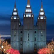 Mormon Temple Christmas Lights Poster