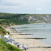 Morning Bay Pt Looking Up Swanage Bay On A Summer Morning Beach Scene Poster by Andy Smy