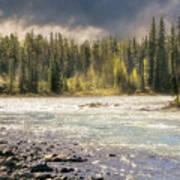 Morning Fog At Athabasca River Poster