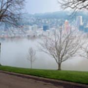 Morning Fog Over City Of Portland Skyline Poster