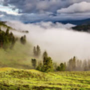 Morning Fog Over Yellowstone Poster