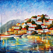 Morning Harbor - Palette Knife Oil Painting On Canvas By Leonid Afremov Poster