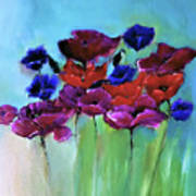 Morning Light Poppies Painting Poster