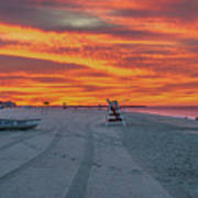 Morning Red Sky At Cape May New Jersey Poster