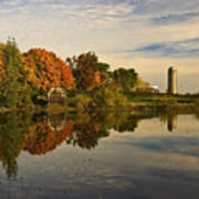Morning Reflections Of Autumn Colours On A Farm Pond Poster