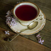 Morning Tea With Lilacs Poster