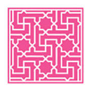 Moroccan Key With Border In French Pink Poster
