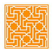 Moroccan Key With Border In Tangerine Poster