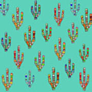 Mosaic Cacti On Aqua Poster