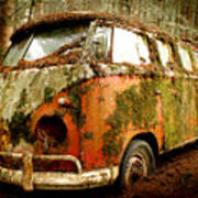 Moss Covered 23 Window Bus Poster by Michael David Sorensen