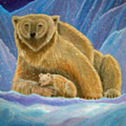 Mother And Baby Polar Bears Poster
