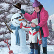 Mother And Child Building Snowman Poster