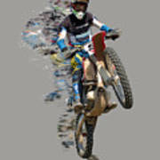 Motocross Rider With Flying Pieces Poster