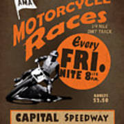 Motorcycle Speedway Races Poster