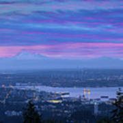 Mount Baker And Vancouver Bc At Dawn Poster