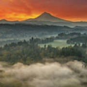 Mount Hood And Sandy River Valley Sunrise Poster
