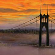 Mount Hood By St Johns Bridge During Sunrise Poster