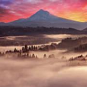 Mount Hood Foggy Sunrise Poster