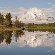 Mount Moran On Oxbow Bend Panorama Poster