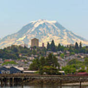 Mount Rainier At Tacoma Waterfront Poster
