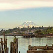 Mount Rainier From City Of Tacoma Washington Waterfront Poster
