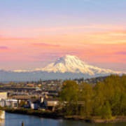 Mount Rainier From Tacoma Marina Poster