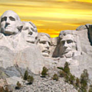 Mount Rushmore 11 Digital Art Poster