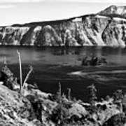 Mount Scott Behind Crater Lake B W Poster