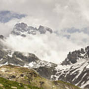 Mount Viso In The Clouds Poster