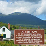 Mount Washington Nh Warning Sign Poster