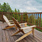 Mountain Adirondack Chairs Poster