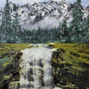 Mountain And Waterfall  Poster