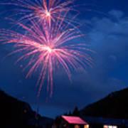 Mountain Fireworks Landscape Poster