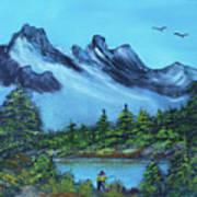 Mountain Fishing Lake Poster