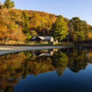 Mountain Lake Beach With Fall Color Reflections Poster
