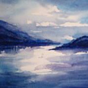 Mountain Lake In Blue Poster