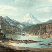 Mountain Landscape With Indians Poster