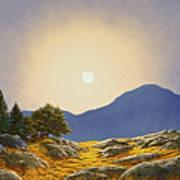 Mountain Meadow In Moonlight Poster