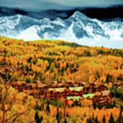 Mountain Village Autumn Poster