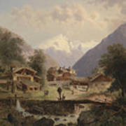 Mountain Village With Alpine Panorama Poster