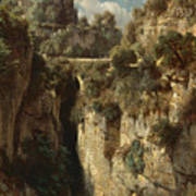Mountainous Landscape With Waterfall Poster