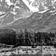 Mountains Alaska Bw Poster